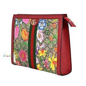 Gucci Ophidia Floral GG Supreme Canvas Pouch